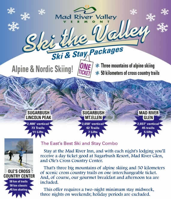 Ski the Valley - Ski and Stay Packages. Three mountains of alpine skiing. 50 km of cross country trails. One ticket.